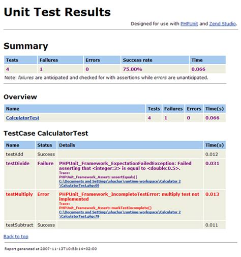 yii phpunit tutorial reporting on phpunit test results zend studio 13 6