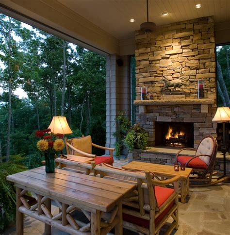 Porch Fireplace by Corner Outdoor Fireplace Porch Rustic With Ceiling Fan