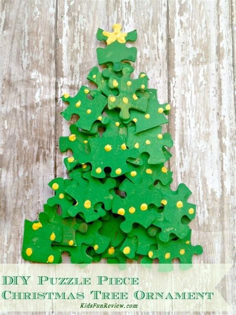puzzle piece christmas tree ornament craft idea