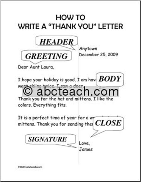 Thank You Letter To Primary Poster How To Write A Quot Thank You Quot Letter Primary Abcteach