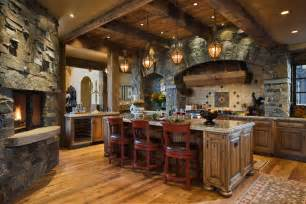 Stone Kitchens Design by Impressive Cedarview Residence With A Spectacular Mountain