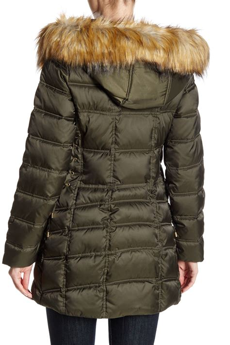 Quilted Faux Fur Trim Puffer by Betsey Johnson Quilted Puffer Lace Up Faux Fur Trim