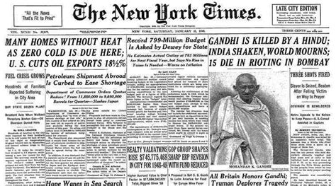 mahatma gandhi biography article when newspapers across the world mourned the loss of
