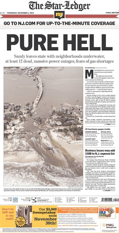 newspaper layout history stark front page from the star ledger quot pure hell quot super