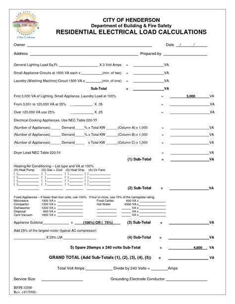 Electrical Load Calculation Spreadsheet by Residential Electrical Load Worksheet Photos Jplew