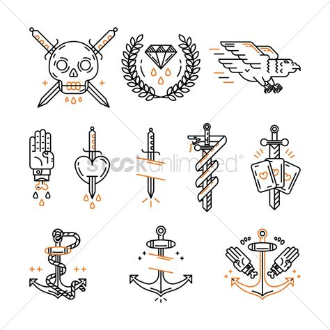 iconic tattoo icon set vector image 1511682 stockunlimited