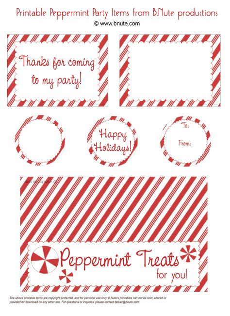 Printable Menu Tags | bnute productions free peppermint party printables menu