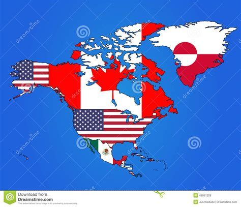north america map with flags north america flag map stock vector image 49051209