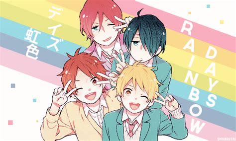 anime rainbow day rainbow days smile anime and friends