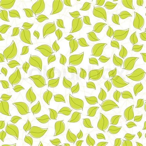 cute green pattern wallpaper cute seamless background with green leaves stock vector