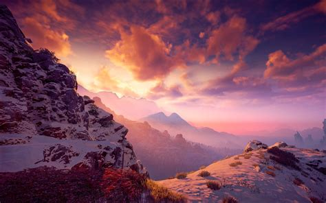 horizon  dawn vii snowy mountains full hd wallpaper