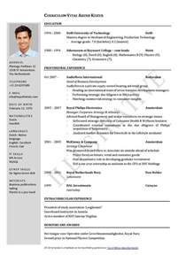 Exle Of Resume Cv by Curriculum Vitae Resume Cv
