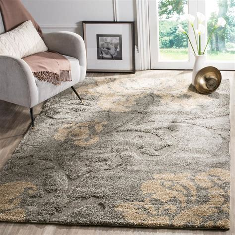 Gray And Beige Area Rug Safavieh Florida Shag Gray Beige 6 Ft X 9 Ft Area Rug Sg458 8013 6 The Home Depot