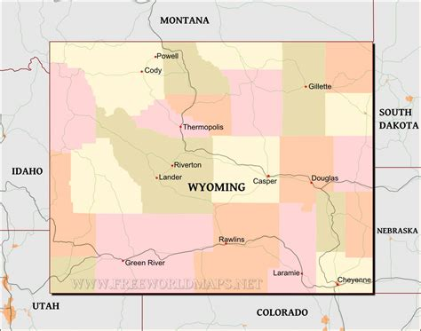 political map of wyoming wyoming maps
