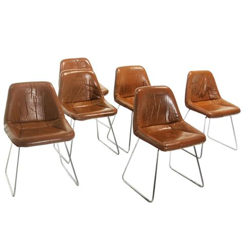 Chrome Leather Dining Chairs Set Of Six Zalszupin For L Atelier Leather And Chrome Dining Chairs For Sale At 1stdibs