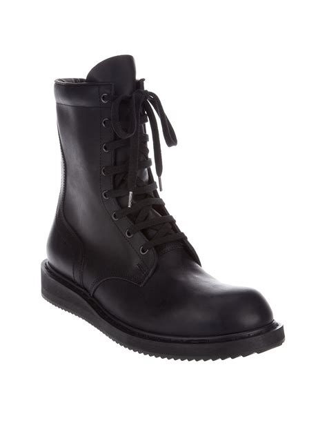 rick owens combat boots rick owens combat boot in black for lyst