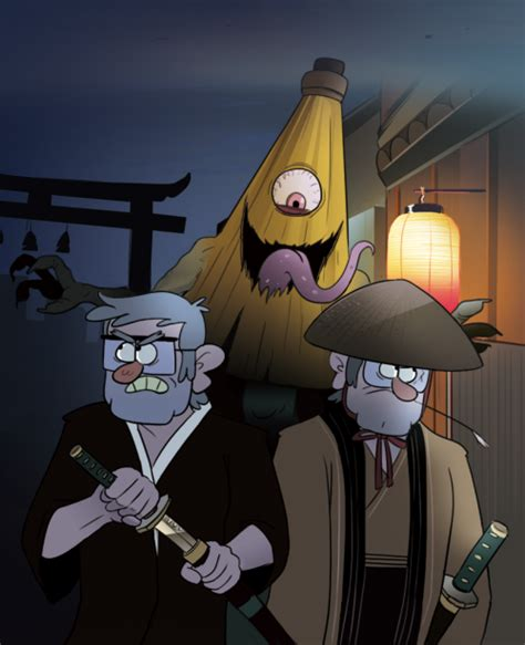 Japanese Umbrella Meme - grunkle stan and ford followed by a kasa obake japanese