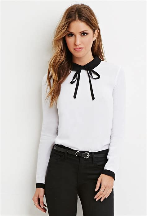 White Blouse Pan Collar by Lyst Forever 21 Contrast Pan Collar Blouse In Black