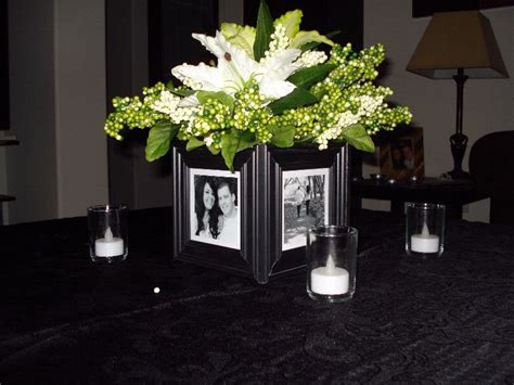 table centrepieces for dinner glue 4 frames around a cube vase 1 store auction decor