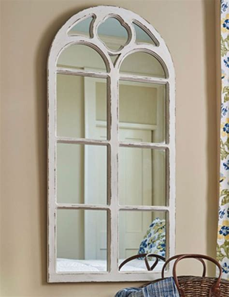 Ideas Design For Arched Window Mirror Park Designs Shabby Chic Distressed White Wood Arched Window Mirror 47 25 Quot H Ebay