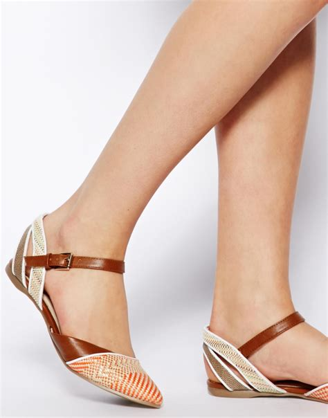 flat pointed shoes with ankle aldo flat pointed ankle shoes in brown lyst