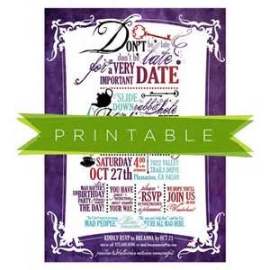 mad hatter tea printable invitation by mountainpaper on etsy