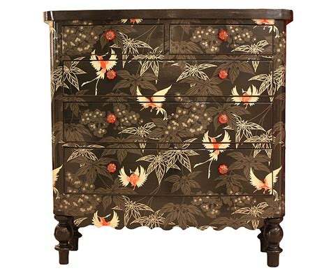 Decoupage Furniture With Wallpaper - blackbirds by bryonie porter wallpaper osborne