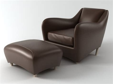 balzac armchair balzac armchair and ottoman 3d model scp