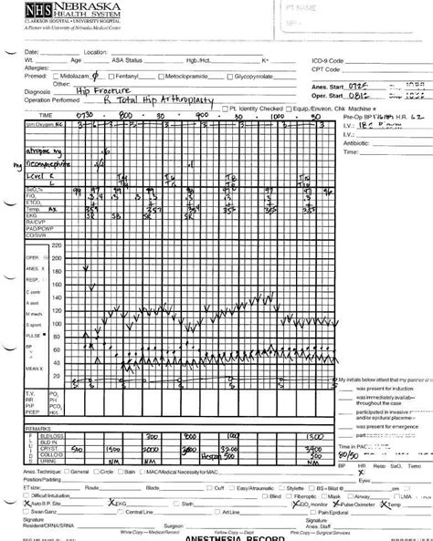 Intraoperative Record Summary Anesthesia Record Template Excel