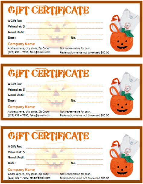 halloween gift certificate   apache openoffice templates