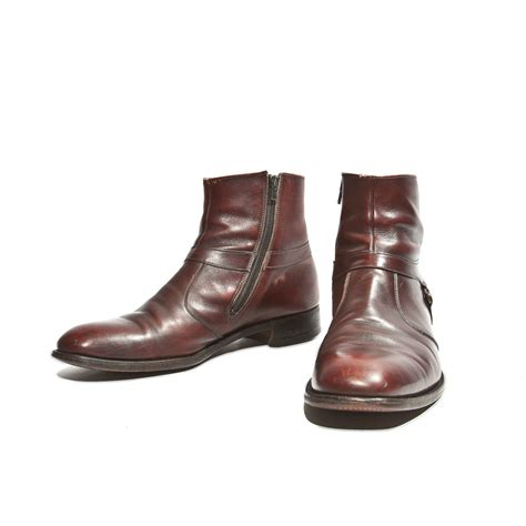 mens boots with cordovan ankle boots zipper sides beatle by rabbithousevintage