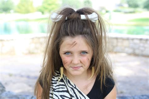 girl hairstyles com cave woman half up halloween hairstyle cute girls
