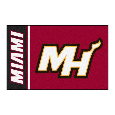 miami heat rug fanmats nba miami heat 1 ft 7 in x 2 ft 6 in accent rug 17917 the home depot