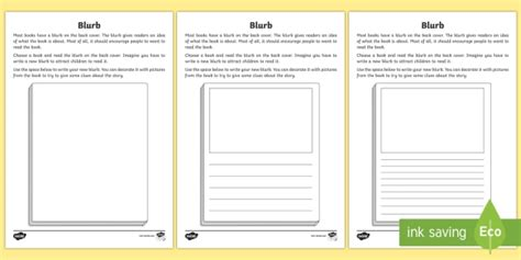 Book Blurb Worksheet Activity Sheet Blurb Books Writing A Blurb Template