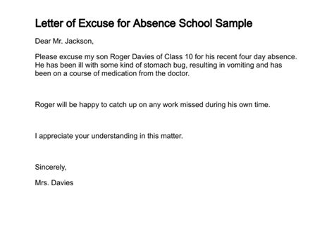 Sle Absence Excuse Letter For Missing School For Vacation Letter Of Excuse