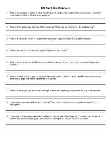 32 Sle Questionnaire Templates In Microsoft Word Company Survey Template