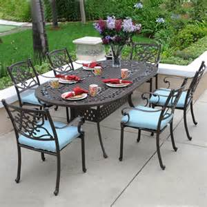 kingston 7 cast aluminum oval dining set on sale now