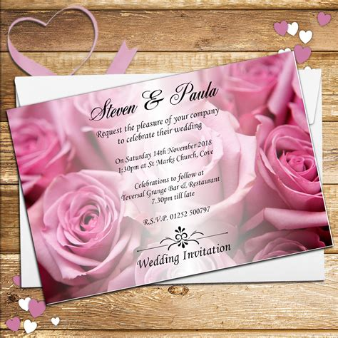 wedding invitations with pink roses 10 personalised pink roses wedding invitations day evening n52