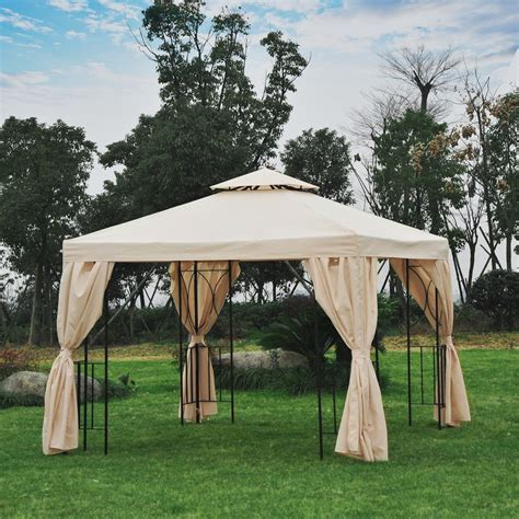 gazebo side panels outsunny 3x3 m gazebo w side panel beige
