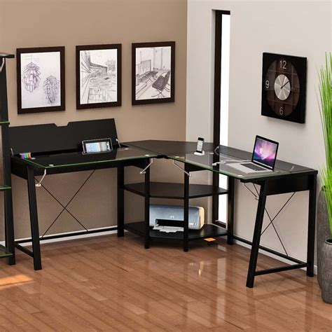 z line glass desk z line designs vance corner desk with hidden storage black