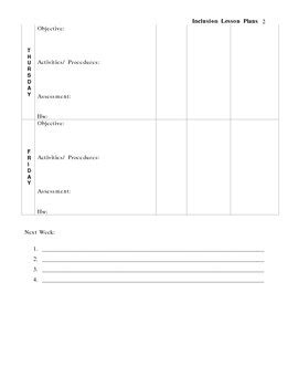 Inclusion Lesson Plan Template By Evette Reyes Martinez Tpt Inclusion Lesson Plan Template