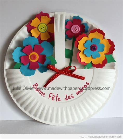 manualidades goma eva para el dia de la amistad manualidad con plato de papel y flores de pl 225 stico o goma