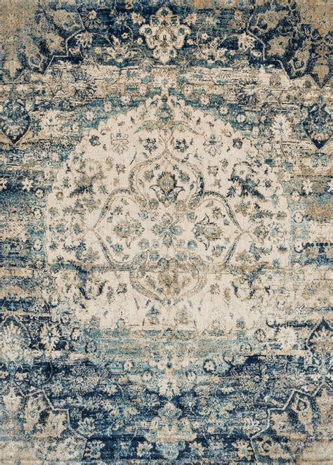 Distessed Western 9x7 Area Rugs - southwest rugs 5 ft blue ivory rug lone
