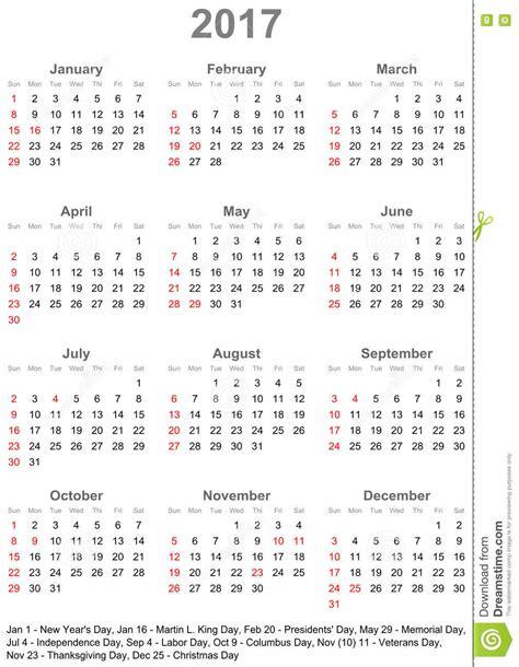 Calendrier Kinder 2017 Kalender 2017 F 252 R Usa Woche Beginnt Am Sonntag Vektor