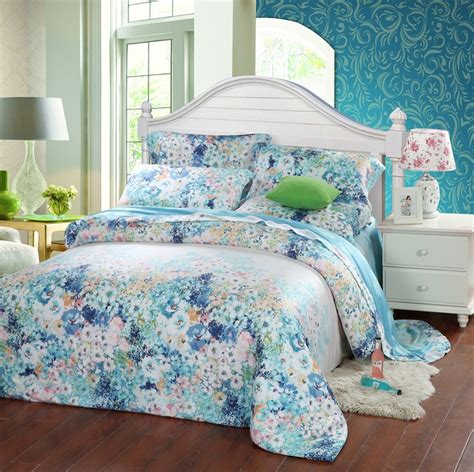 Turquoise Duvet Cover Queen Blue Floral Silk Flowers Bedding Sets Queen King Size