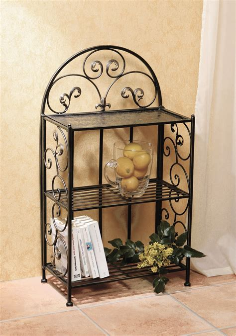 Wrought Iron Bathroom Shelves Black Wrought Iron Shelf On Ceramics Flooring Plus Bathroom Wall Of Awesome Wrought Iron