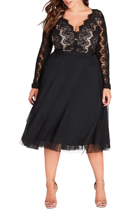 city chic rare beauty lace fit flare dress  size