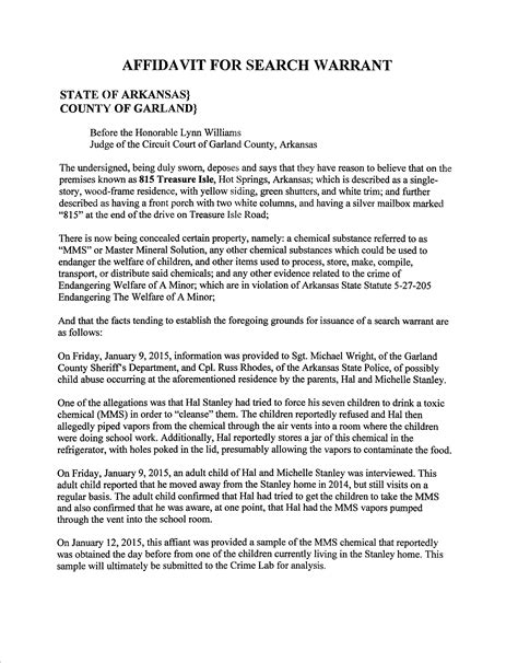Affidavit For Search Warrant Missing Affidavit Found Garland County Info