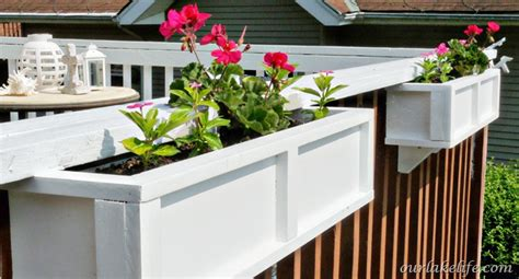 deck rail planter boxes our lake diy project deck planter boxes our lake