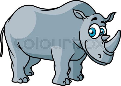 cartoon grey rhino character with big funny eyes isolated